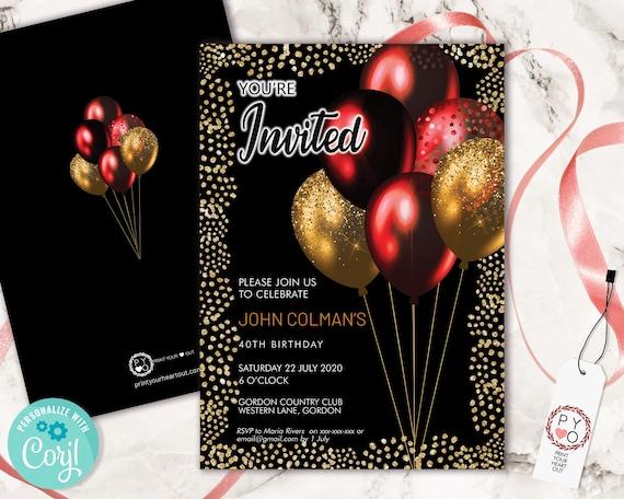 Red Gold Glitter Birthday Balloons Invitation Printable Template, Shiny Glitter Editable Birthday Party Invitation, Unisex Printable Card