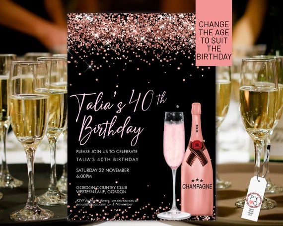 Pink Champagne Rosegold Glitter Invitation Printable Template, Drinks Glitter Editable Birthday Party Invitation for Women, Printable Card