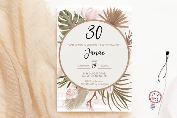 Boho Tropical Orchid Birthday Invitation, Modern Monstera Palm Leaf Invitation, Printable Lunch Dinner Party, Dried Plant Editable Template