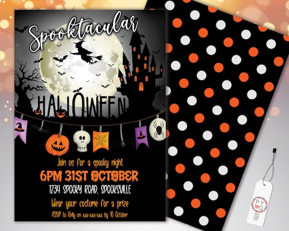 Halloween Witch Spooktacular Invitation Printable Template, Haunted House Party Invite, Printable Fright Night Invite, Pumpkins, Scary