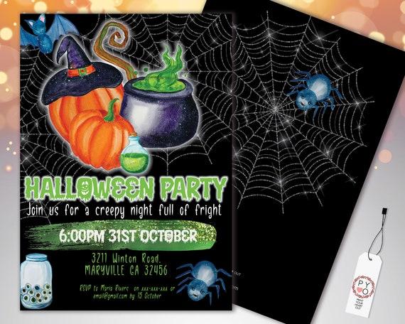 Halloween Green Witches Cauldron Invitation Printable Template, Pumpkin Party Invite, Printable Spooky Fright Night Invite, Spiderweb