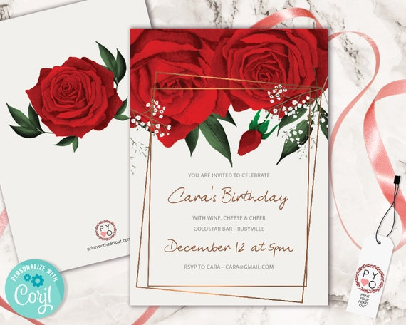 Watercolor Red Roses Birthday Invitation Printable Template, Any Age Editable Birthday Invitation for Women, Printable Floral Invitation