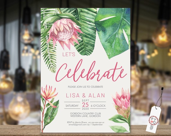 King Protea Rehearsal Dinner Card, Monstera Greenery, Pink Invitation, DIY Printable Card, Tropical Date Claimer, Practice Wedding Invite