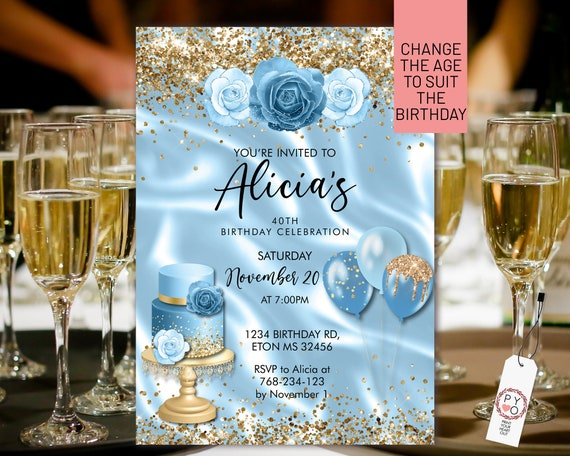 Any Age Birthday Light Blue Gold Glitter Cake Balloons Invitation Printable Template, Pastel Sparkle Editable Floral Women, Baby Blue Roses