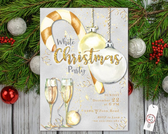 White Christmas Party Invitation, Silver Gold Invite, Friends Family Party Home, Gold Candy Cane, Christmas Baubles, Gold Ribbon Champagne