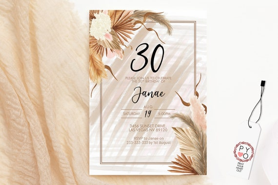 Pampas Grass Birthday Invitation, Boho Dried Palm Leaf Invitation, Printable Lunch Dinner Party, Tropical Floral Pink Editable Template