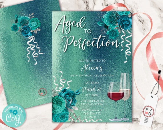 Wine Birthday Invitation Aqua Teal Template, Aged to Perfection Rose Editable Birthday Party Invite Women, Printable Champagne Glass Invite