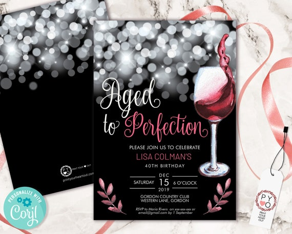 Aged to Perfection Wine Birthday Invitation Printable Template, Black Sparkle Editable Birthday Party Invitation, Printable Red Wine Invite