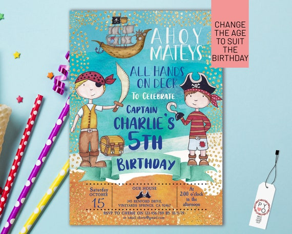 Pirate Boys Birthday Invitation Printable Template, Editable Invitation, Any Age Birthday, Blue Ship Sea Party, Boys Age Birthday