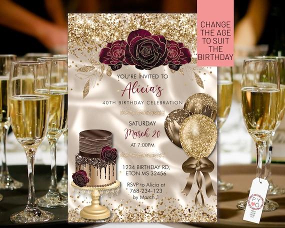 Any Age Birthday Gold Burgundy Chocolate Cake Balloons Glitter Invitation Printable Template, Ivory Satin Editable Floral Invitation Women