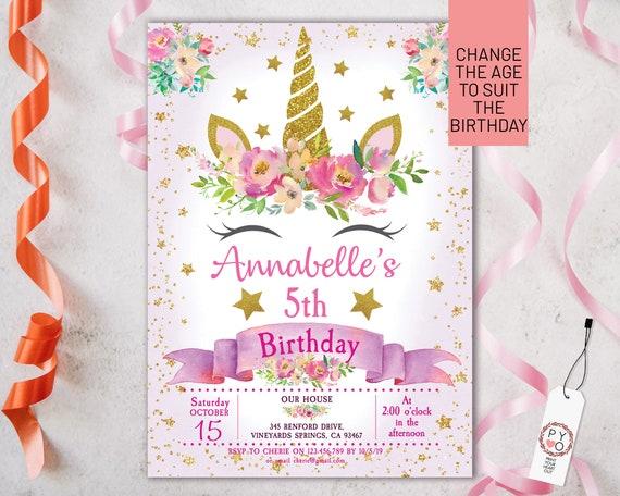 Gold Unicorn Floral Birthday Invitation Printable Template, Editable Invitation, Any Age Birthday, Pink Unicorn Party, Girls Age Birthday