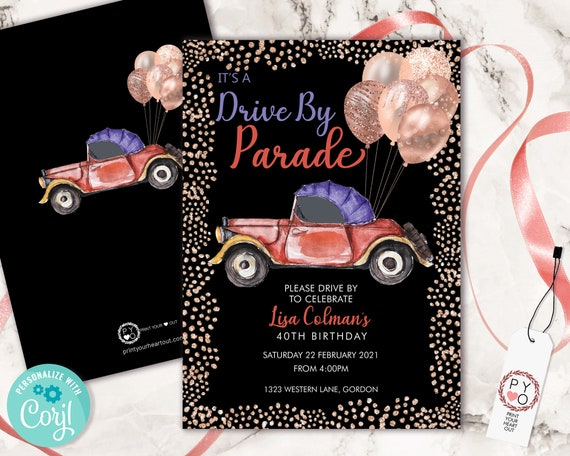 Drive By Rose Gold Birthday Balloons Invitation Printable Template, Black Gold Glitter Editable Birthday Parade Invitation, Printable Card