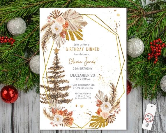 Boho Christmas Tree Pampas Grass Birthday Invitation,  Autumn Palm Leaves Invitation, Printable Dinner Party, Editable Template for Women