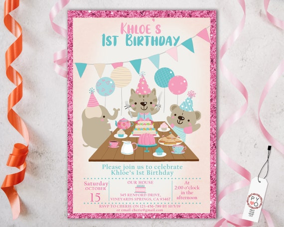 1st Birthday Animal Party Invitation Printable Template, One Editable Invitation, Girl Cupcakes Balloons First Birthday, Pink Aqua Cartoon