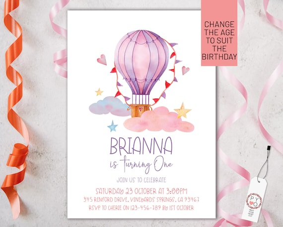 Hot Air Balloon Birthday Girls Invitation Printable Template, One Editable Invitation, First Birthday, Watercolor Cute Invite Girls, Any Age