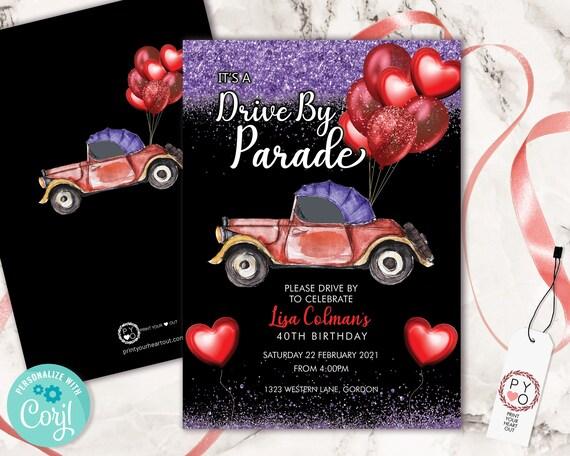 Drive By Red Purple Birthday Balloons Car Invitation Printable Template, Purple Glitter Editable Birthday Parade Invitation, Printable Card