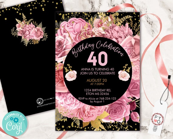 Pink Roses Flowers Invitation Printable Template, Gold Confetti Editable Birthday Party Invitation for Women, Pastel Blush Floral Invite