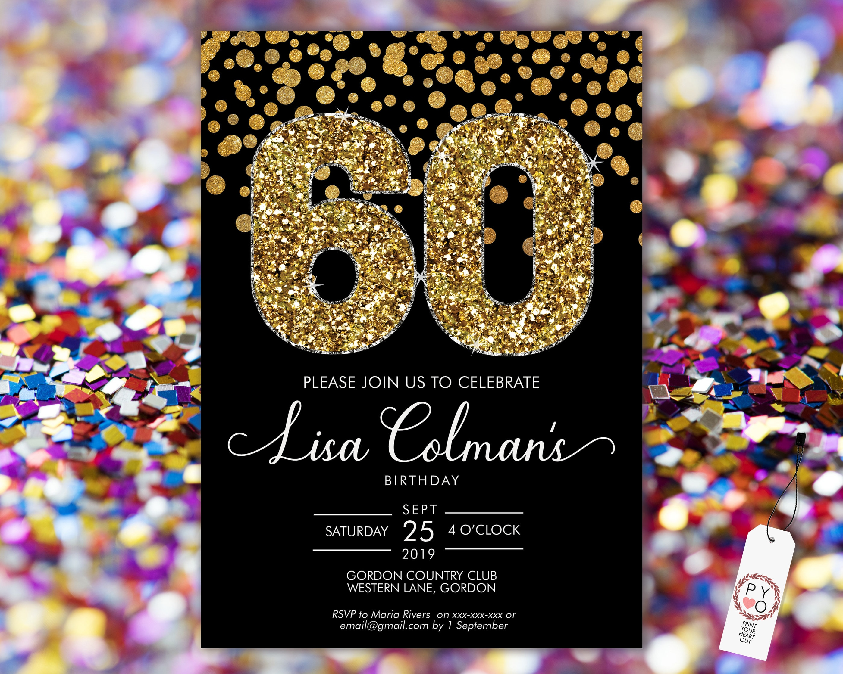 DIY 60th Birthday Confetti Invitation Printable Template ...