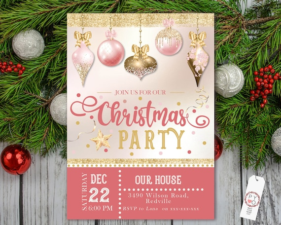 Blush Pink Gold Christmas Ornaments Party Invitation, Xmas Invite, Friends Family Party Dinner at Home, Ornaments Bauble DIY Christmas Party