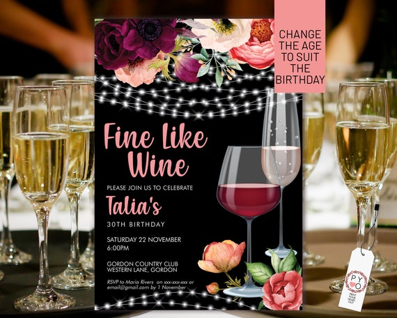 Wine Birthday Invitation Printable Template, Black White Sparkle Editable Birthday Party Invitation for Women, Printable Champagne Invite