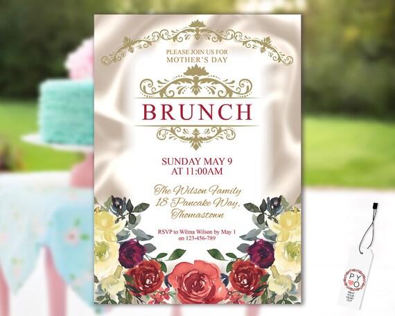 Mother's Day Brunch Burgundy Floral Invitation Printable Template, Ivory Satin Gold Editable Dinner Invite for Mom, Printable Orange Flowers