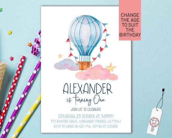 Hot Air Balloon Birthday Boys Invitation Printable Template, One Editable Invitation, First Birthday, Watercolor Cute Invite Boys, Any Age