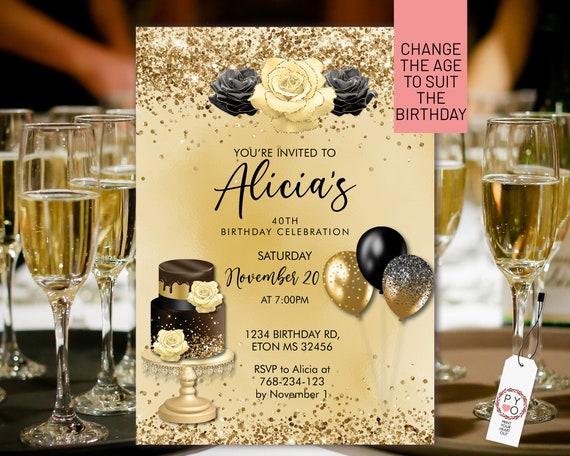 Any Age Birthday Black Gold Glitter Cake Balloons Invitation Printable Template, Editable Floral Dinner for Women,  Yellow Cream Roses