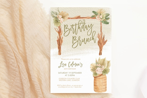 Boho Plants Arch Garden Birthday Invitation, Modern Cream Bamboo Brunch Invite, Printable Lunch Rattan Party, Tropical Editable Template