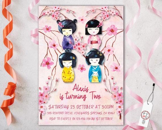 Birthday invite for girls, first birthday invite girl, Kokeshi Invitation, Japanese Doll, Cherry Blossom, Japanese tea invite, sweet, pink