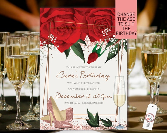 Watercolor Red Roses Champagne Birthday Invitation Printable Template, Any Age Editable Shoes Birthday Invitation, Printable Floral Invite