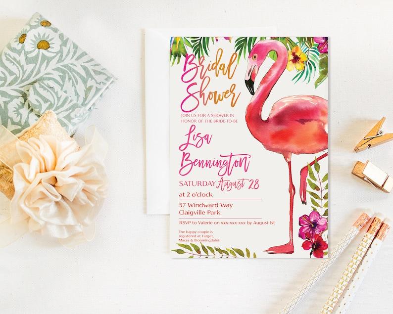 Flamingo Bridal Shower Invitation Pink Flamingo Art Flamingo image 0