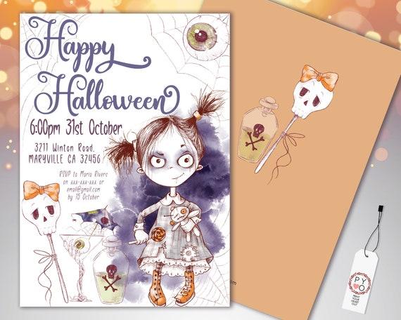 Halloween Scary Girl Party Invitation Printable Template, Adult Drinks Party Invite, Printable Fright Night Invite, Eyeball SpiderWeb Invite