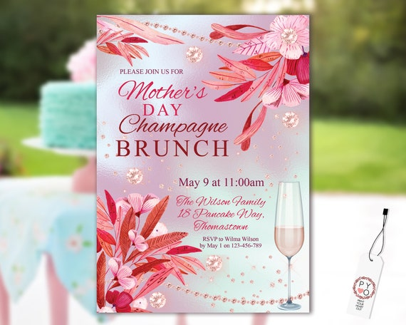Mother's Day Champagne Brunch Pink Floral Invitation Printable Template, Diamond Editable Invite for Mom, Printable Purple Tropical Flowers