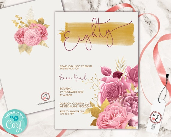 80th Birthday Pink Gold Floral Invitation Printable Template, Eighty Editable Birthday Party Invitation for Women, Printable Eighty Party