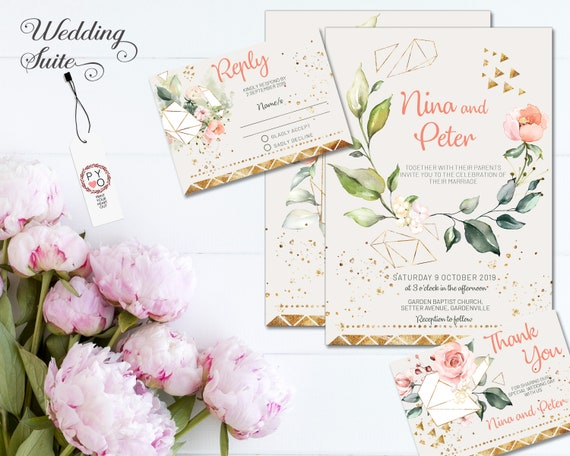Peach Floral Wedding Invitation • Ivory Cream Pink Gold • Summer Spring • Flower • Invite • Save the Date • Thank You • Gold Rose Series