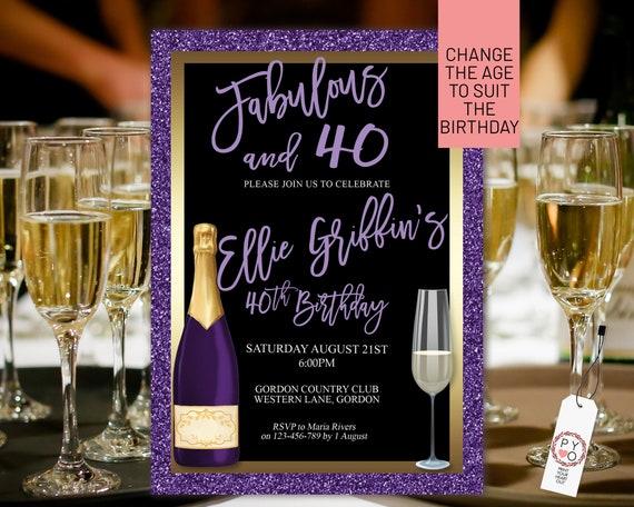 Any Age Purple Gold Birthday Champagne Glass Invitation Printable Template, Lavender Glitter Editable Birthday Dinner Women, Printable Card