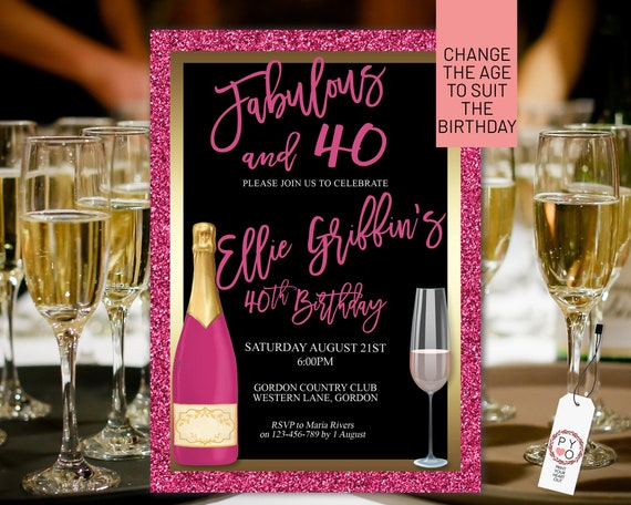 Any Age Hot Pink Glitter Gold Birthday Champagne Glass Invitation Printable Template, Magenta Editable Elegant Dinner Women, Printable Card