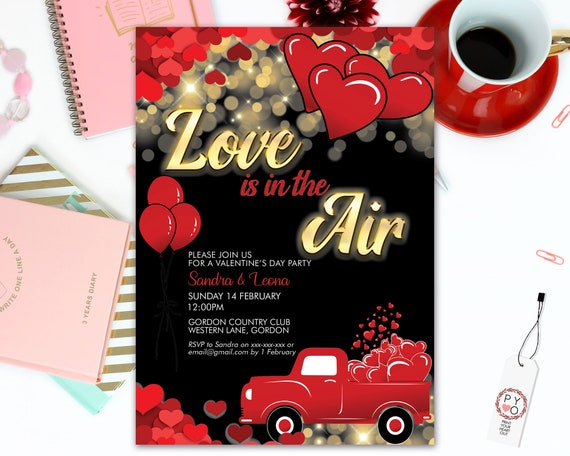 Love is in the air Valentine's Day Party Invitation, Red Hearts, Sweetheart Invitation, Lonely Hearts Invite, Valentine Flyer, Friends Party