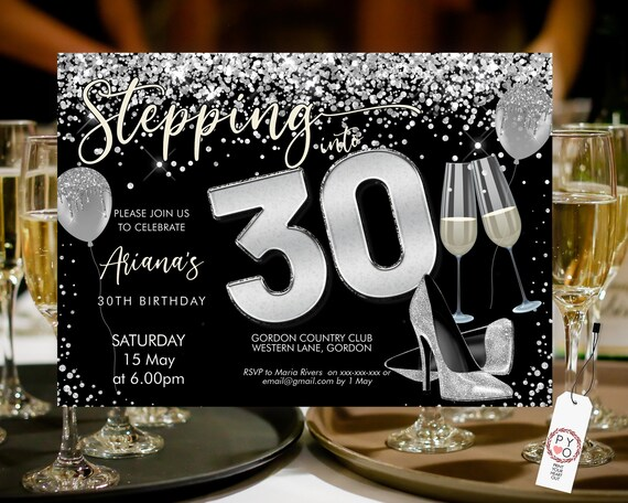 Stepping into 30 Birthday Invitation Printable Template, Horizontal Silver Glitter Heels  Champagne Party Women, Printable balloon Invite