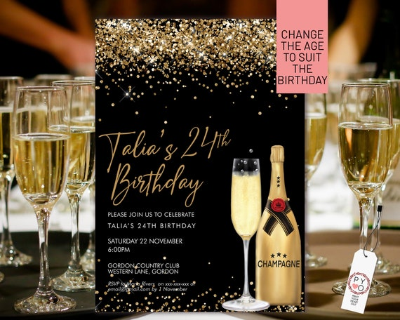 Gold Champagne Glitter Invitation Printable Template, Drinks Cocktails Glitter Editable Birthday Party Invitation for Women, Printable Card