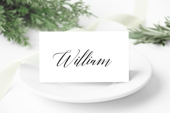 Black Script Placecard Template, DIY Editable Cards, Printable Table Setting, Simple Elegant Cards, Wedding Day Download, Minimal Placecard