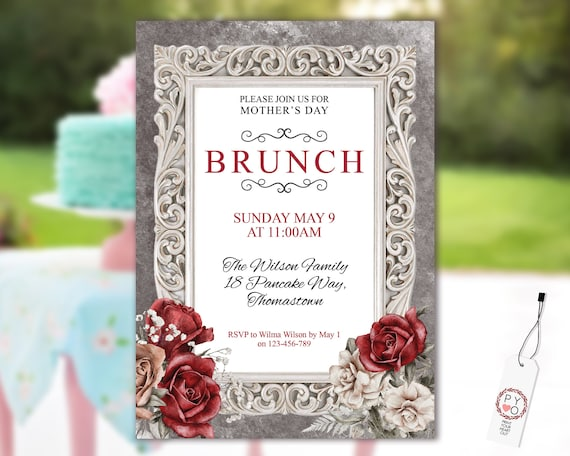 Mother's Day Brunch Red Rose Floral Invitation Printable Template, Ivory Grey Editable Dinner Invite for Mom, Printable Cream Flowers