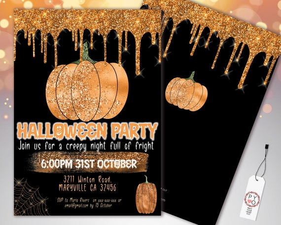 Halloween Orange Pumpkin Glitter Drip Invitation Printable Template, Glitter Pumpkin Party Invite, Printable Spooky Fright Night Invite