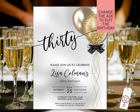 DIY Any Age Birthday Gold Silver Glitter Invitation Printable Template, White Foil Editable Birthday Party Invitation for Women, Balloons