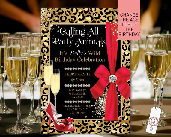 Red Gold Glitter Leopard Birthday Bows Heels Invitation Printable Template, Party Animal Editable Birthday Party Invitation, Printable Card