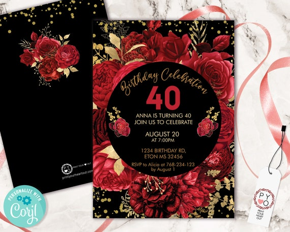 Red Roses Flowers Invitation Printable Template, Gold Confetti Editable Birthday Party Invitation for Women, Bright Red Floral Invite