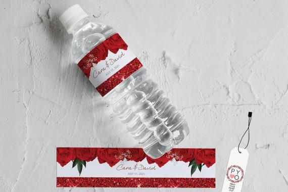 Red Rose Water Bottle Labels, Printable Bottle Labels Template - Floral Bottle Stickers, Wedding, Birthday DIY Bottle Wrappers, Beverage