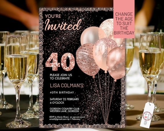 Any Age Rose Gold Birthday Balloons Invitation Printable Template, Black Glitter Editable Birthday Party Invitation Women, Printable Card