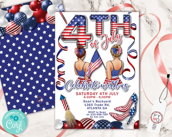 4th of July Celebrate Girls Invitation Printable Template, Red White Blue Editable Grill BBQ Rocket Party Invite, Independence Day Picnic