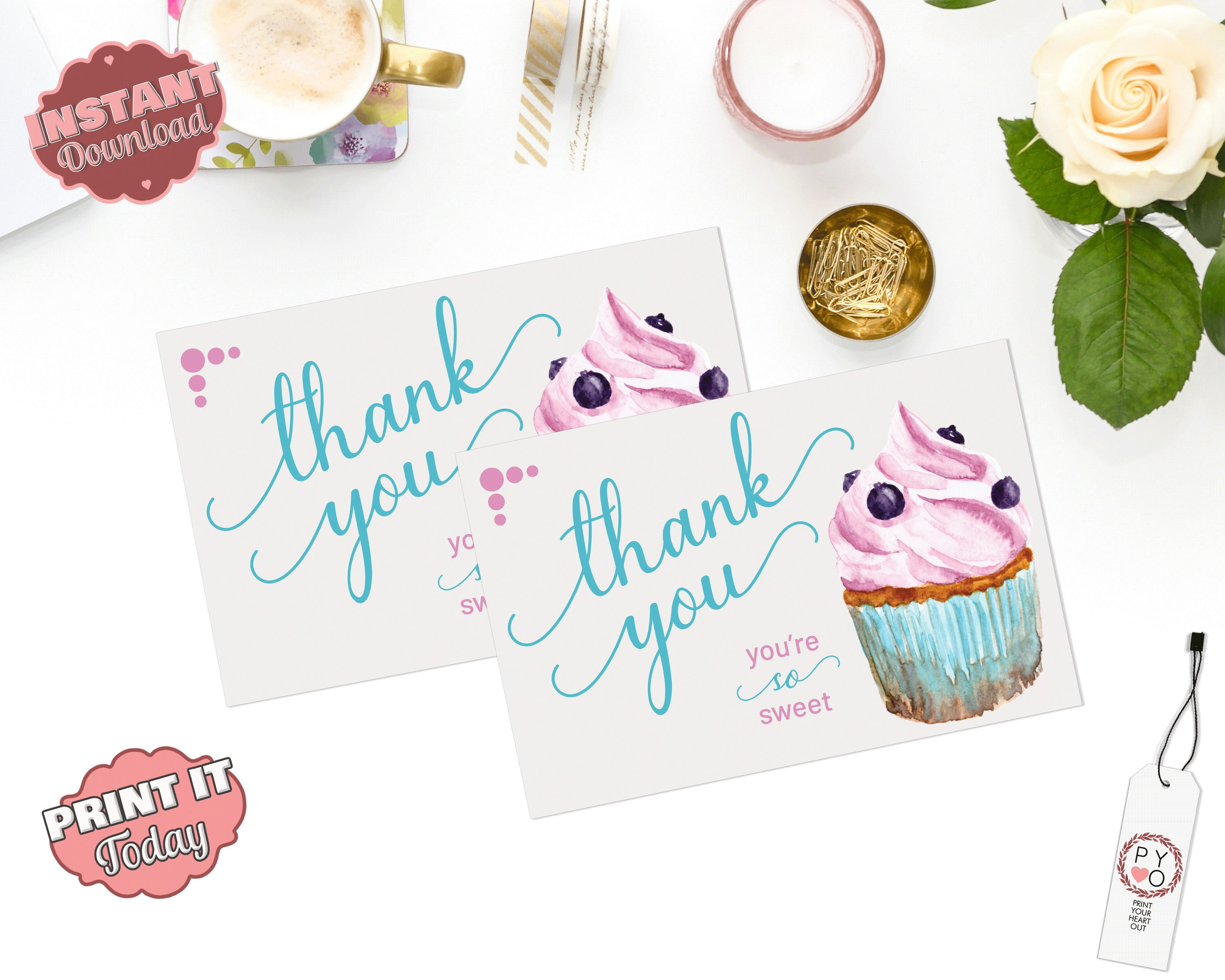 instant download  thank you card thank you postcard